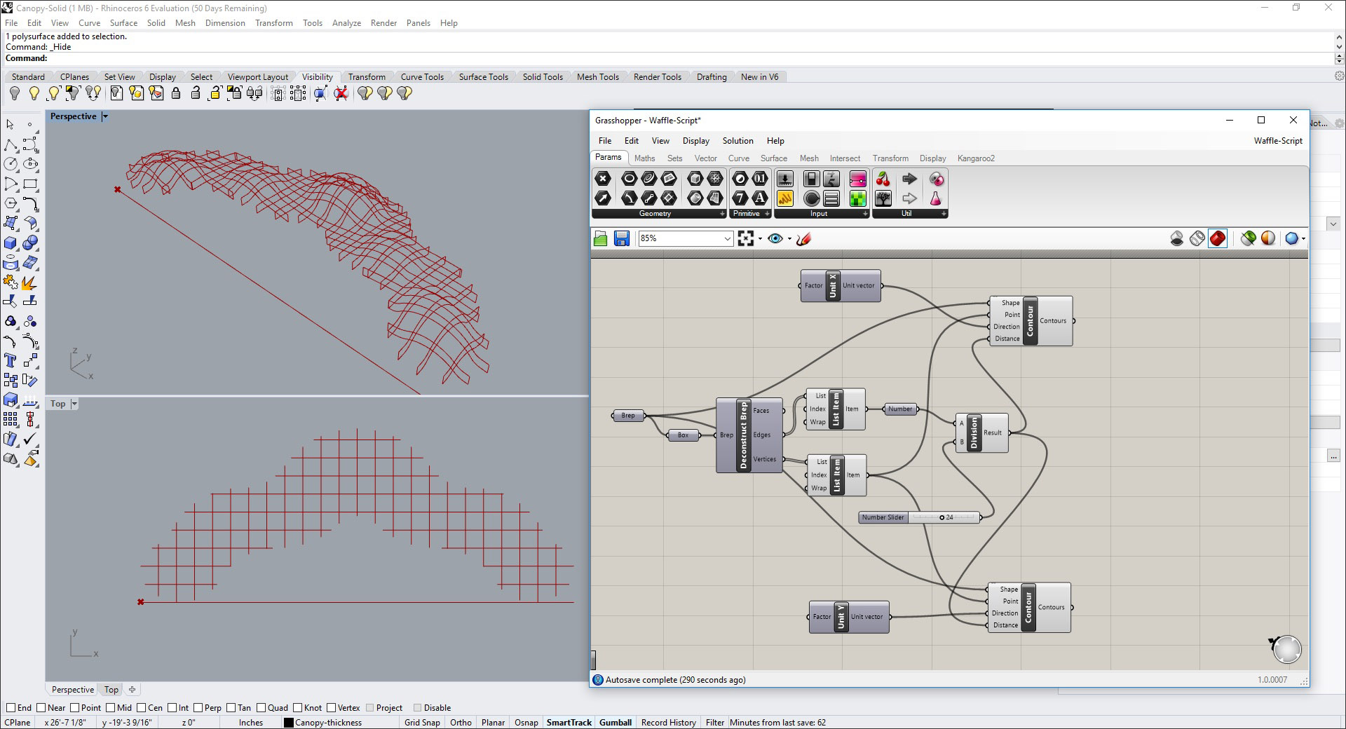Modeling a Waffle Structure in Rhino and Grasshopper: AECbytes Tips